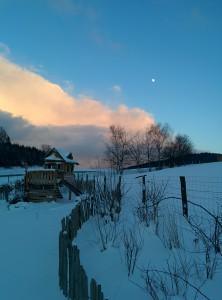 Abenddämmerung im Schnee